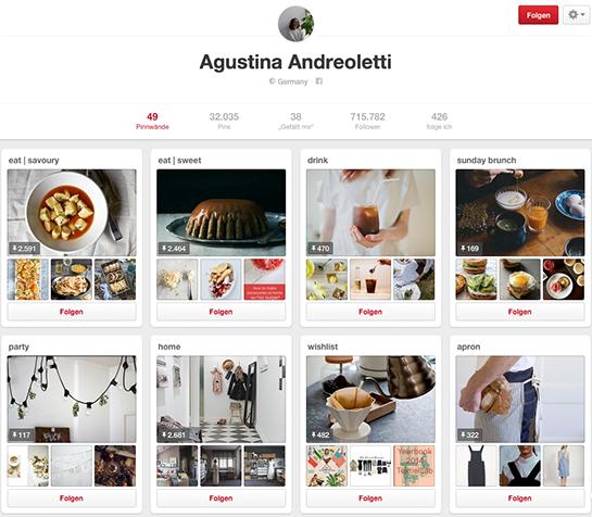 (Screenshot von dem Pinterest-Profil von Agustina Andreoletti)