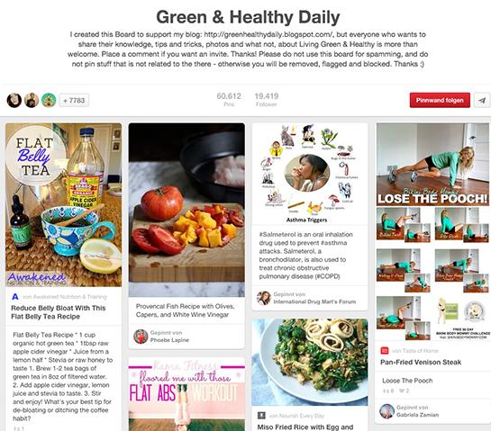 (Screenshot von der Pinnwand Green & Healthy Daily von byalbertine)