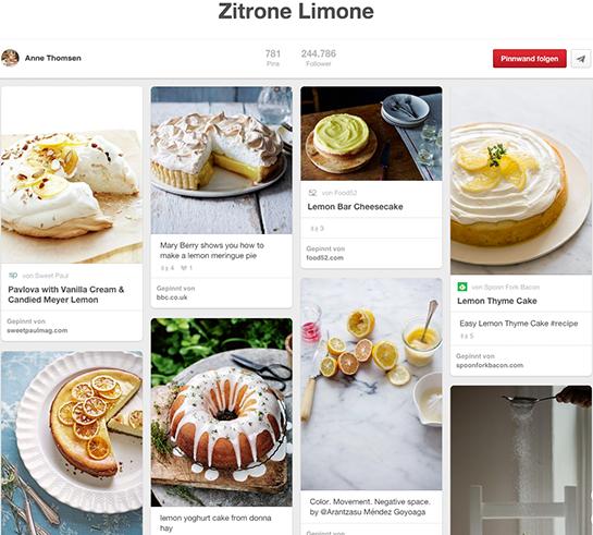 (Screenshot von der Pinnwand Zitrone Limone von Anne Thomsen)