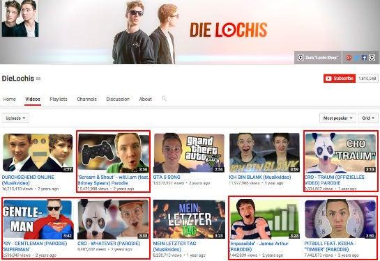 """Die beliebtesten Videos von """"Die Lochis"""" (erneut sind die Parodie-Videos rot markiert)"""