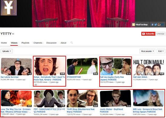 Die beliebtesten Videos im Channel von Y-Titty, rot markiert die Parodie-Videos
